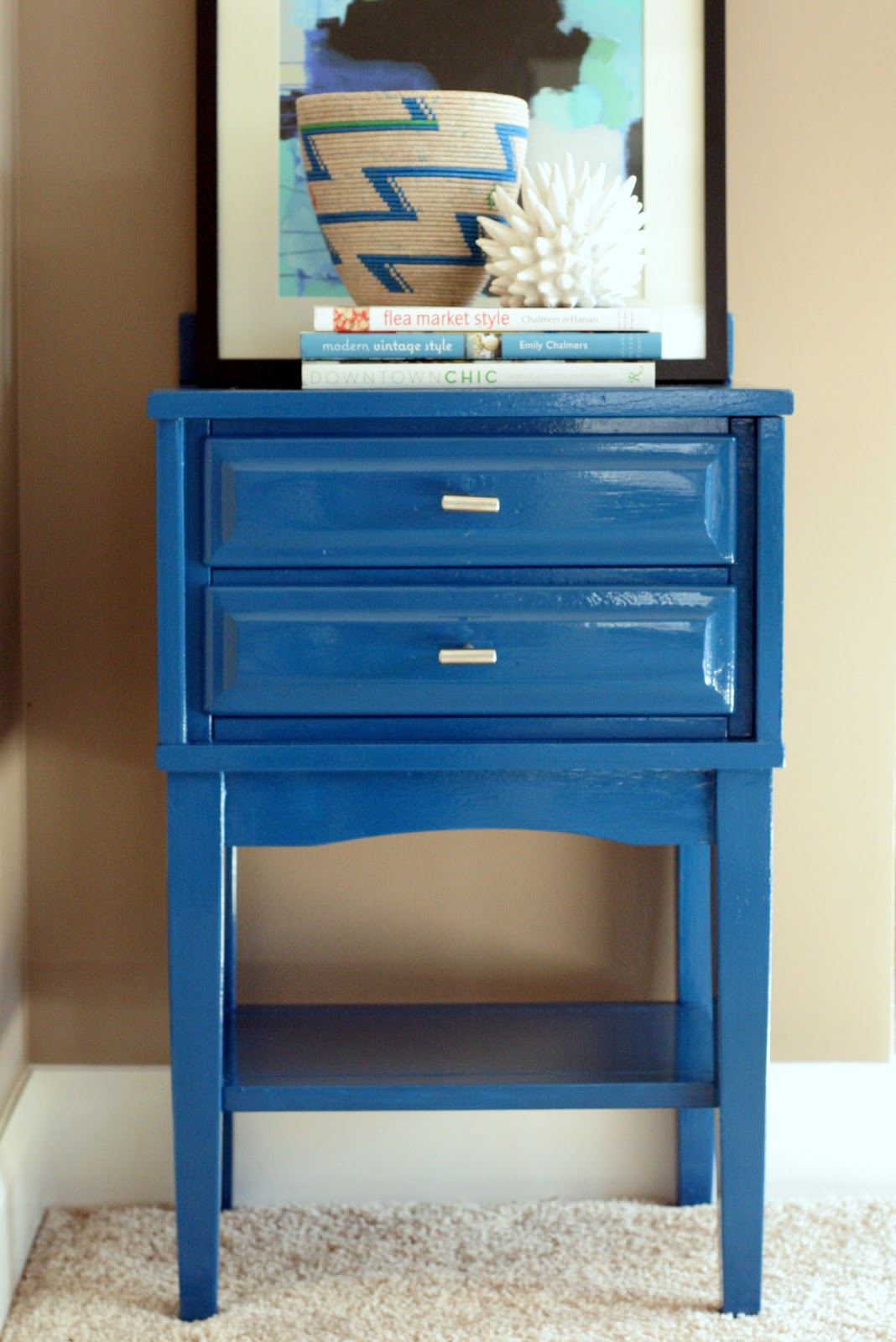 Stuck on Hue: Gloss blue nightstand using oil-based paint