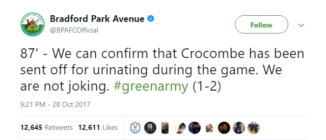 Bradford Park Avenue's Twitter account reveals what actually happened with Salford goalkeeper Max Crocombe