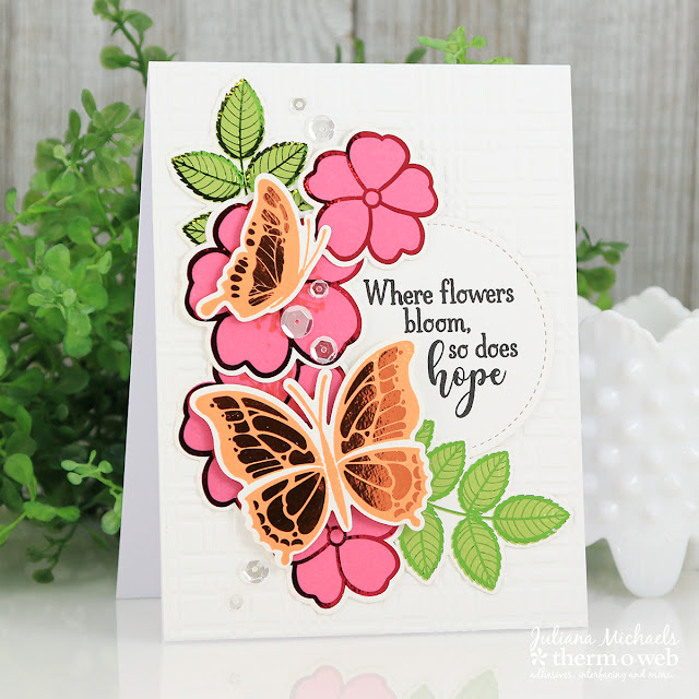 Butterfly Hope Card by Juliana Michaels featuring Therm O Web Gina K Designs Butterfly Wishes Stamp and Die Set and coordinating Butterfly Wishes Foil Mates