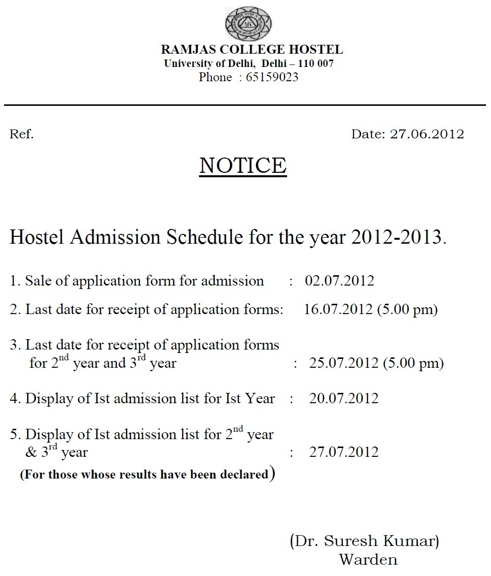 Hostel Admissions | Hail Ramjas-Online Students Community ...