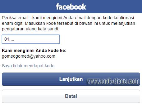 Pengisian kode konfirmasi di facebook