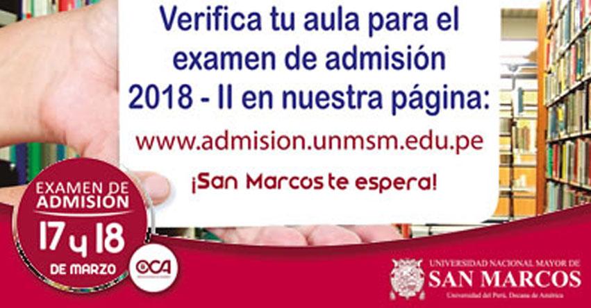 UNMSM: Locales y Aulas Examen Admisión 2018-2 (Sábado 17 - Domingo 18 Marzo) Universidad Nacional Mayor de San Marcos - www.admision.unmsm.edu.pe