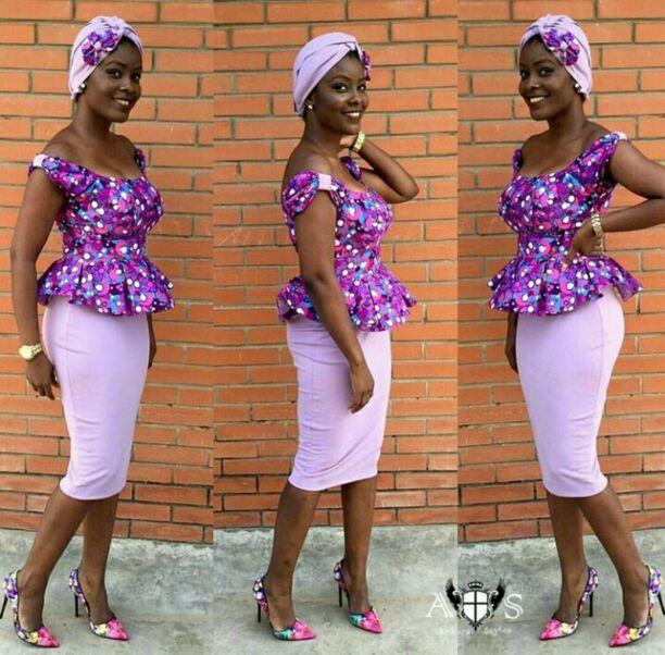 Ankara top and lilac skirt