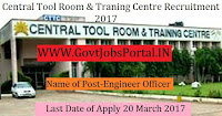 Central Tool Room & Training Centre Recruitment 2017–Engineer, Technician