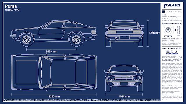 Imagem mostrando o desenho do blueprint Puma GTB/S2 1979