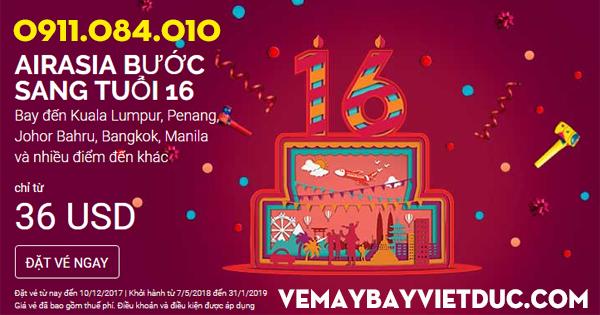 Air Asia khuyến mãi vé 36 usd mừng sinh nhật thứ 16