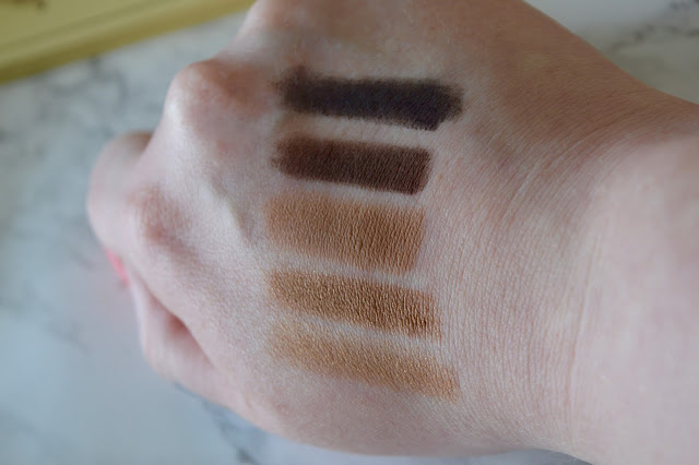 colour swatches from the nudetude eyeshadow palette