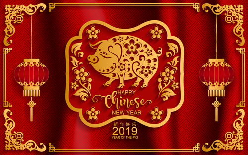 2019 New year with pig year design elements vector free vector file