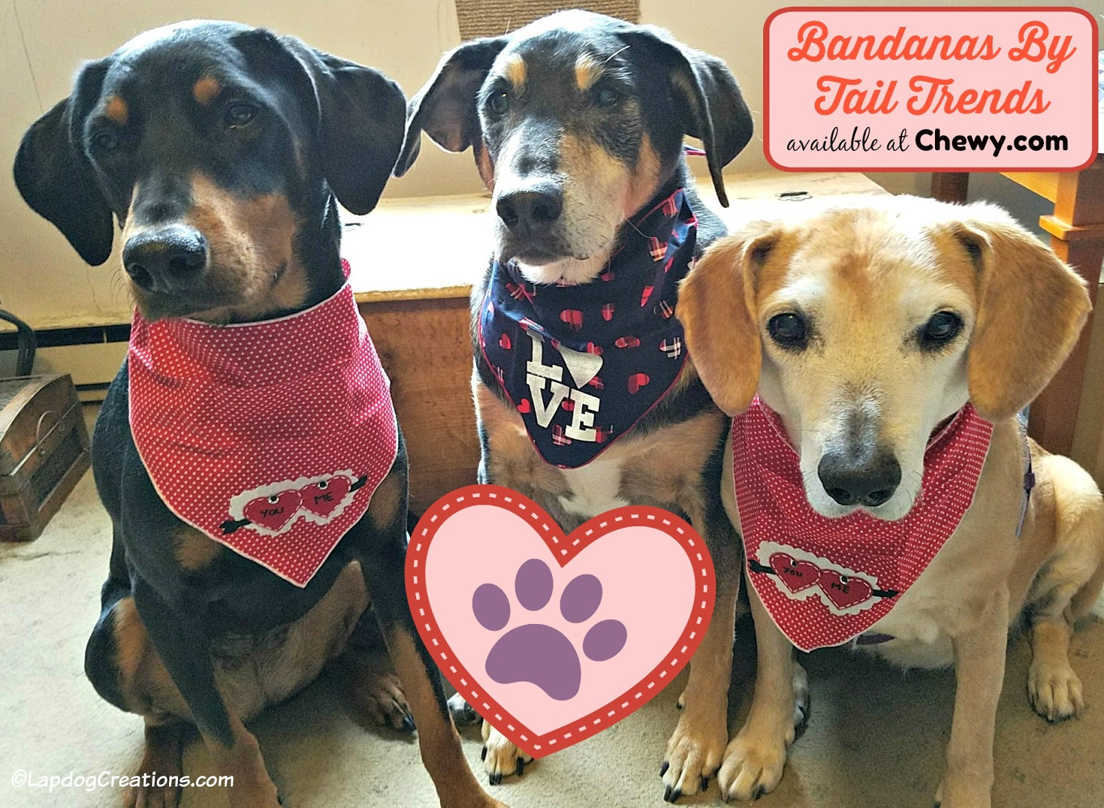 Lapdog Creations Red Hearts Love Furry Paws ChewyInfluencer