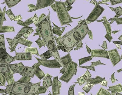 多数のアメリカ100ドル紙幣が舞っている