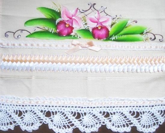 pintura em tecido pano de prato crochê orquídea