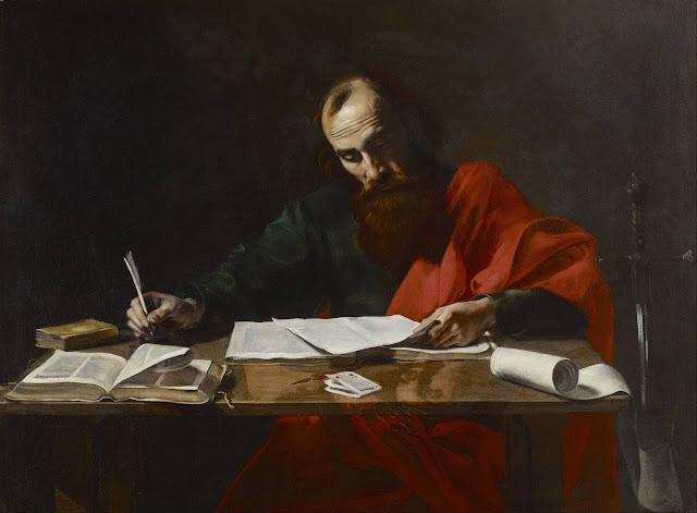 """Pintura """"São Pedro escrevendo suas epístolas"""" de Valentin de Boulogne"""