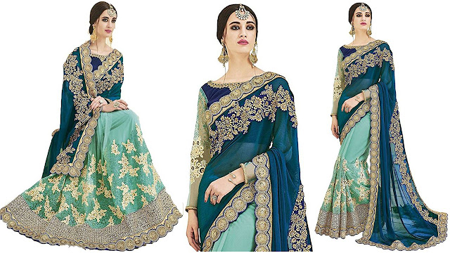 SareeShop Embroidered Bollywood Georgette, Net Saree  (Green)