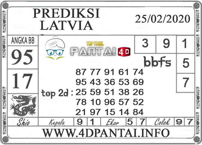 PREDIKSI TOGEL LATVIA PANTAI4D 25 FEBRUARI 2020