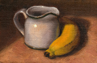 Oil painting of a white porcelain jug beside a banana.