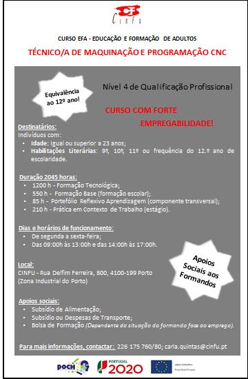 Curso EFA Técnico de maquinação e programação CNC – Porto (equivalência ao 12º)