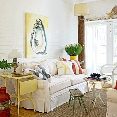 cottage living room with yellow art and accents