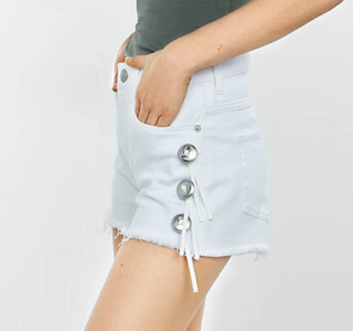 express white shorts and heels