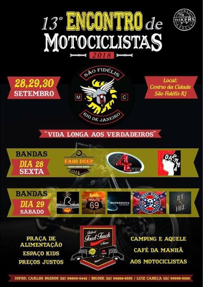 O 13º Encontro de Motociclistas de São Fidélis(RJ) irá acontecer de 28 a 30  de setembro. 848849448d