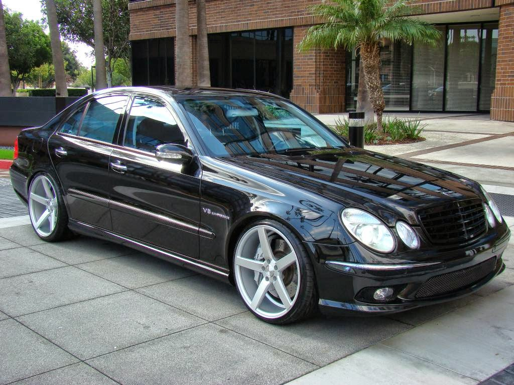 mercedes benz w211 e55 amg on 20inch vossen wheels benztuning. Black Bedroom Furniture Sets. Home Design Ideas