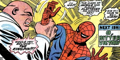 Amazing Spider-Man #59, don heck, john romita, appearing from nowhere at the tale's climax, the Kingpin grabs spider-man's wrist