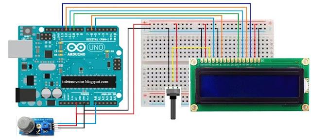 Rangkaian Menampilkan nilai sensor di Lcd 16x2 Arduino