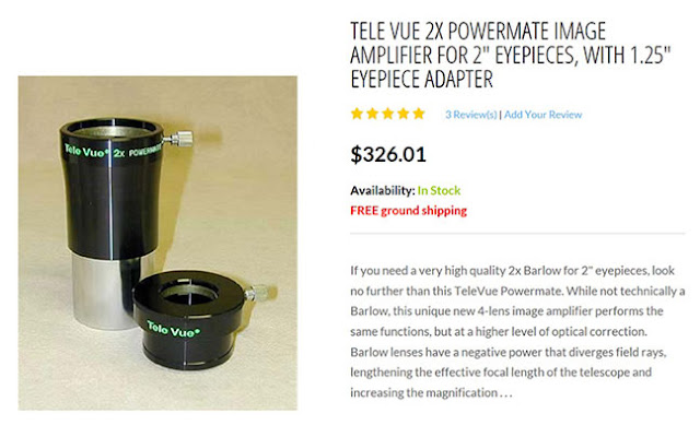 "Advertisement for Powermate with 2X magnification for 2"" eyepieces (Source: TelVue)"