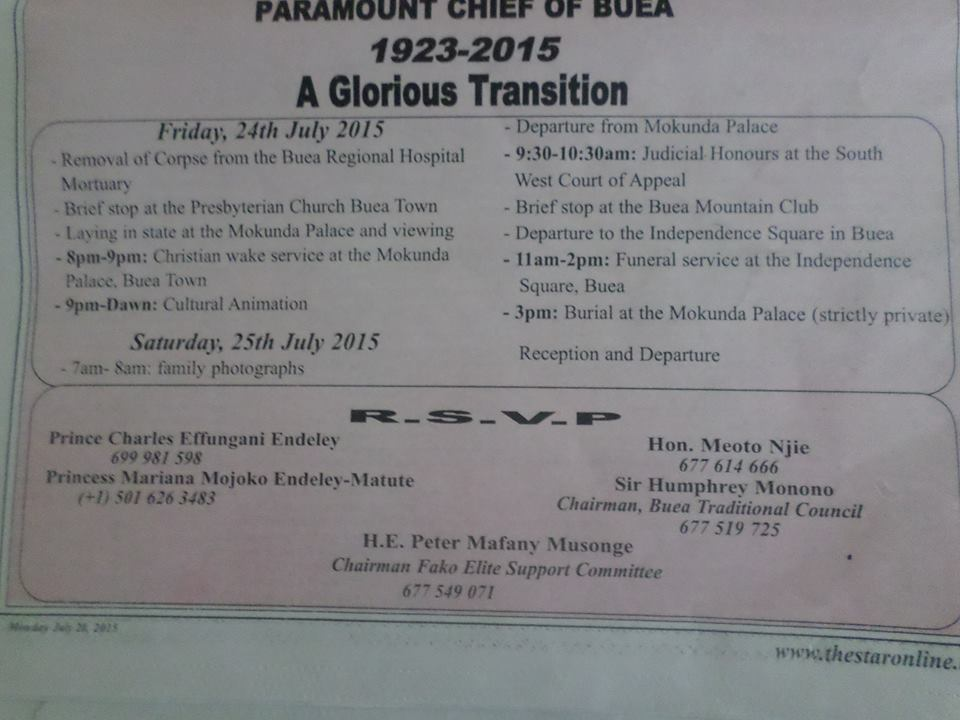The Eye Newspaper Here Is The Funeral Programme Of Chief Sml Endeley