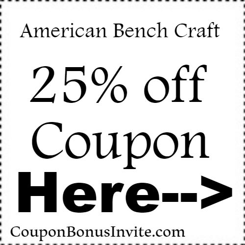 25% off American Bench Craft Discount Code Coupon Jan, Feb, March, April, May, June, July, Aug, Sep, Oct, Nov, Dec