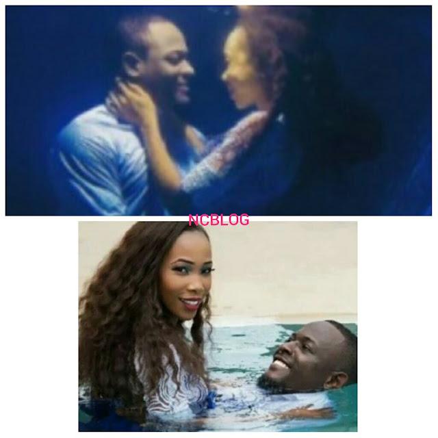Nigerian Couple Strikes Pre-Wedding Shoot Inside Pool