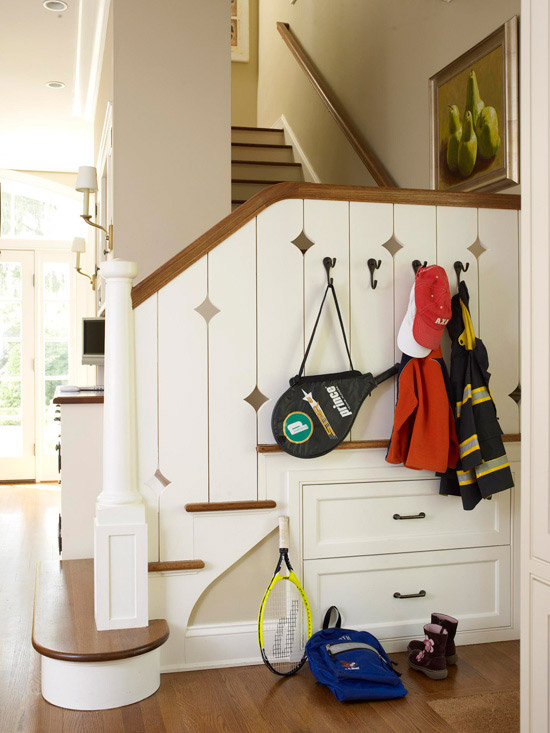 Lighting Basement Washroom Stairs: New Home Interior Design: Clever Ways To Add Storage