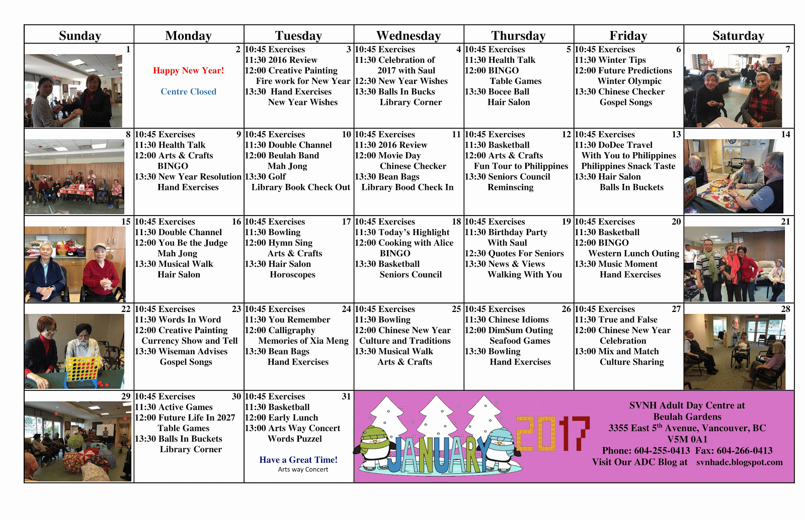 South Vancouver and Beulah Adult Day Programs: BEULAH ADP JANUARY