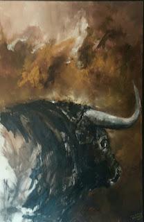 Óleo de Carlos Puente Ortega. El Cielo y el Toro.