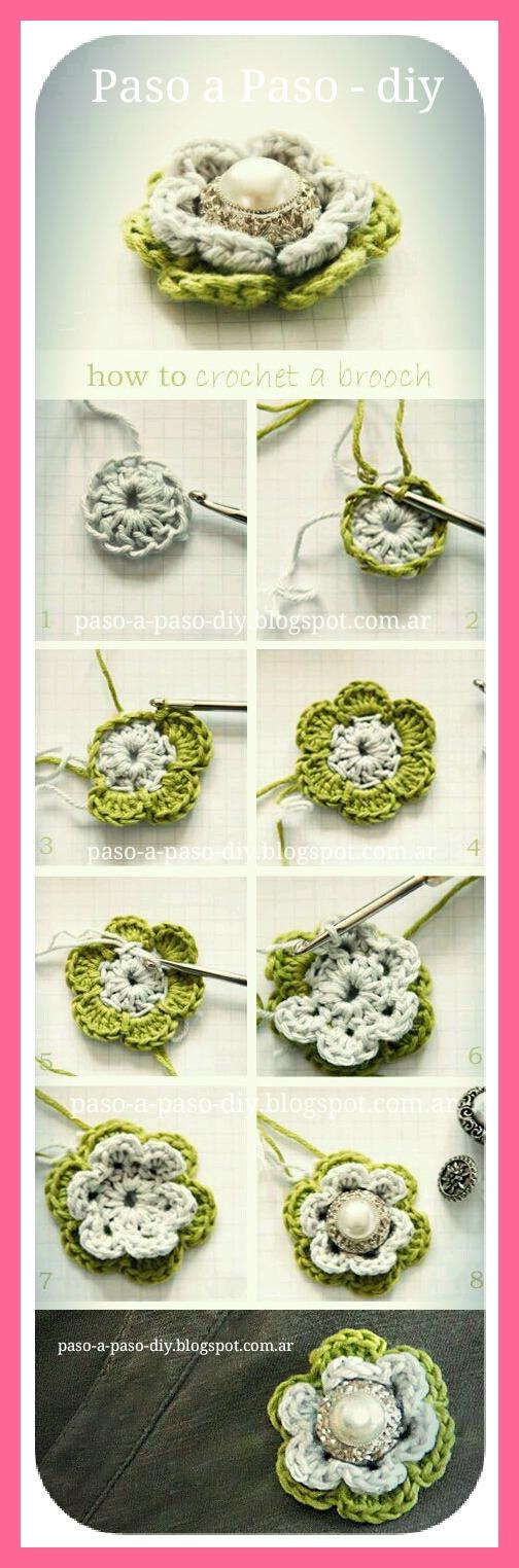 Cómo hacer una flor tejida al crochet tutorial