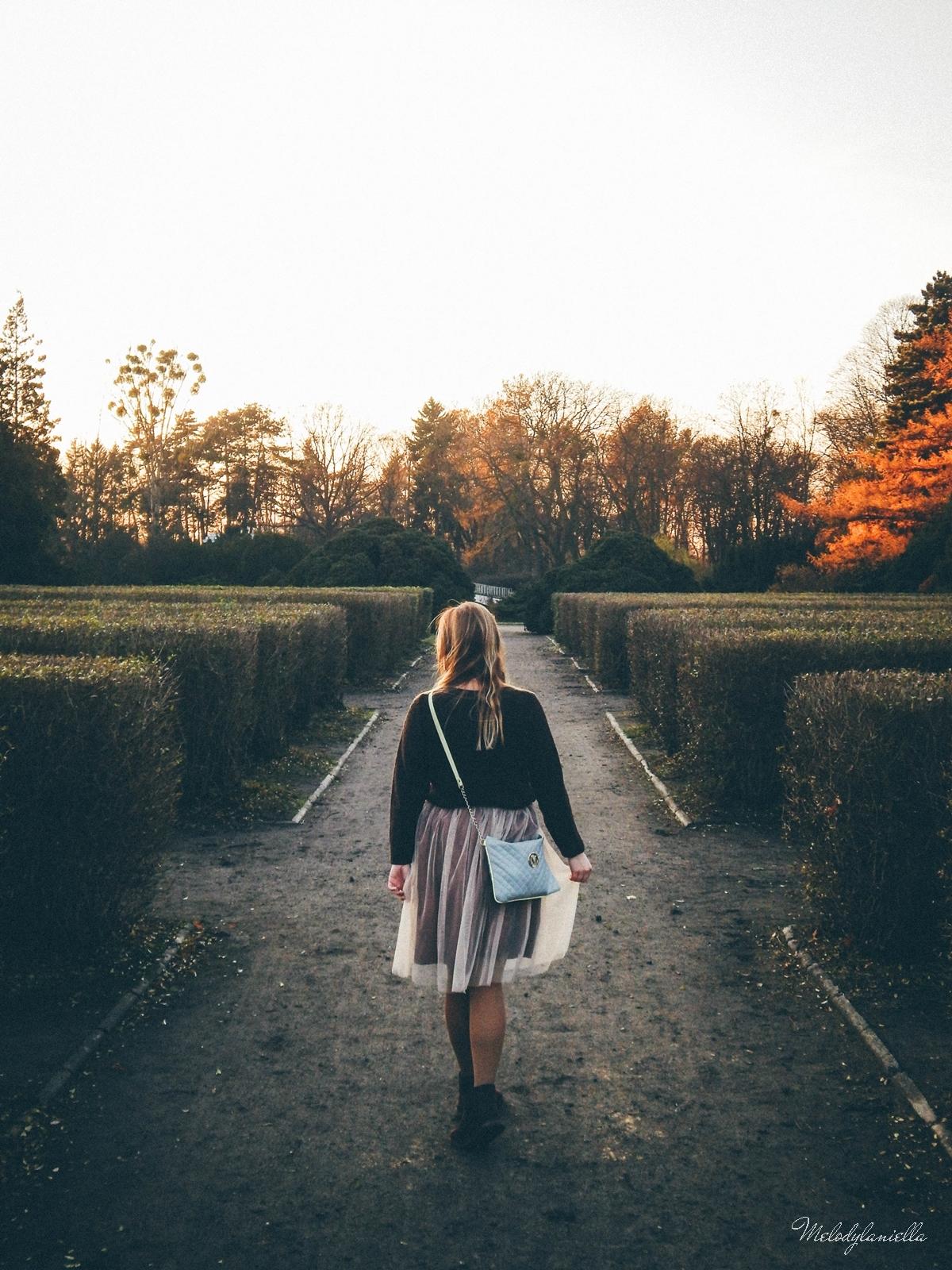 11. jesienna stylizacja tutu tiulowa spódnica dla dorosłych brązowy sweter torebka manzana melodylaniella autumn style fashion ciekawa stylizacja na jesień brązowa spódnica tumblr
