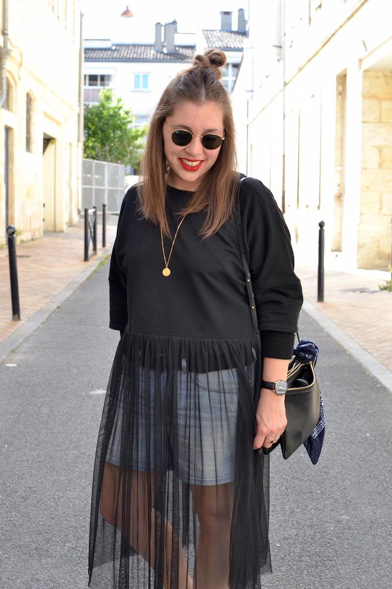 trio bag, short en jean H&M, ray ban , collier  backstage vintage store, sweat tutu noir Zara