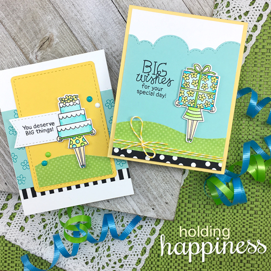 Big Wishes Birthday Cards by Jennifer Jackson | Holding Happiness Stamp Set by Newton's Nook Designs #newtonsnook #handmade