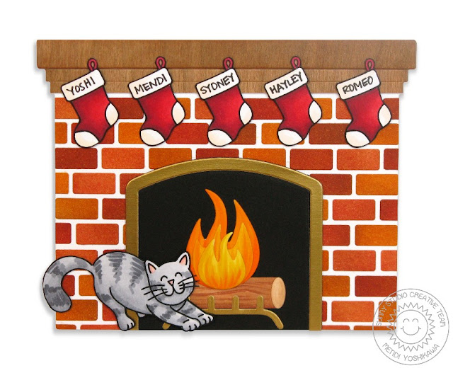 Sunny Studio Stamps: Shaped Fireplace with Stretching Kitty Cat Card (using Christmas Icons & Furever Friends Stamps)