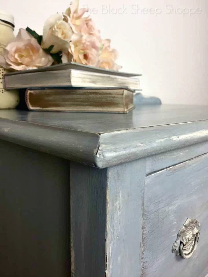 Window seat bench painted with layers of Chalk Paint.