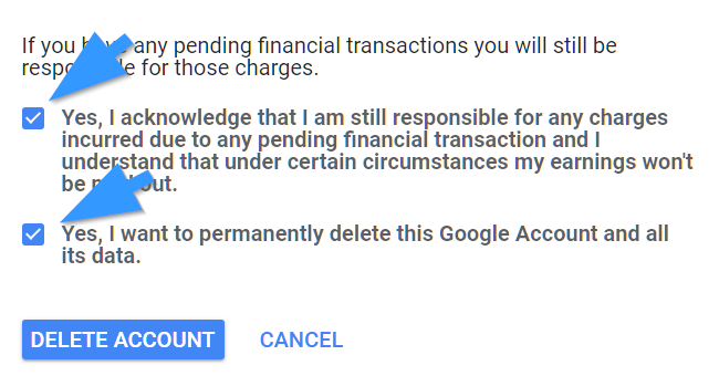 delete Google account