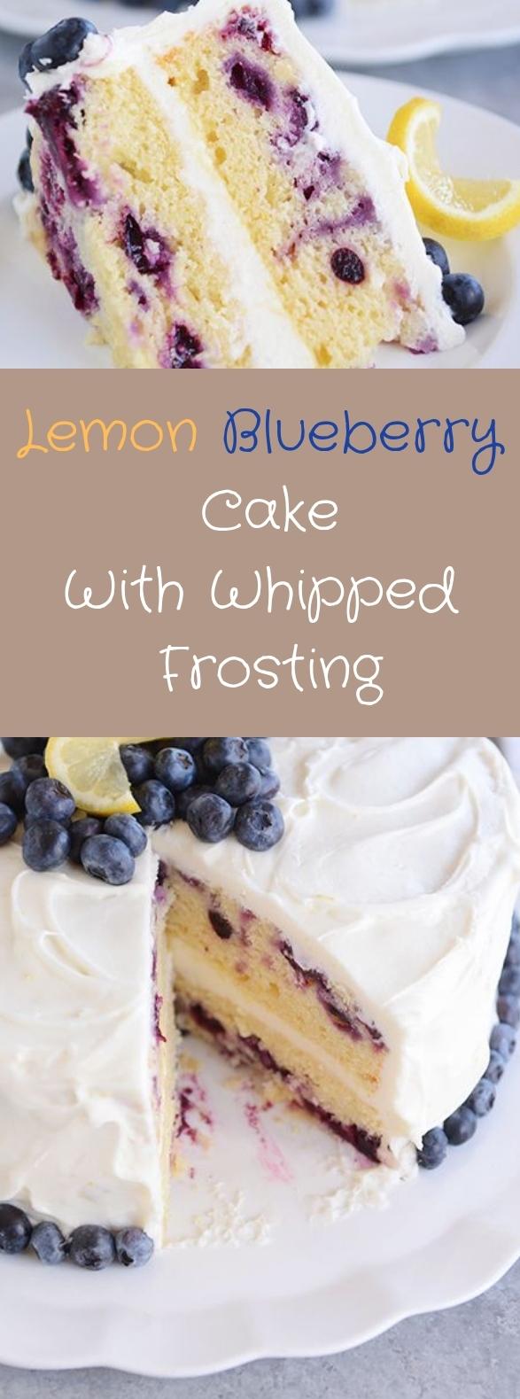 LEMON BLUEBERRY CAKE WITH WHIPPED LEMON CREAM FROSTING #lemon #cake