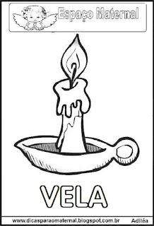 Desenho de vela para colorir