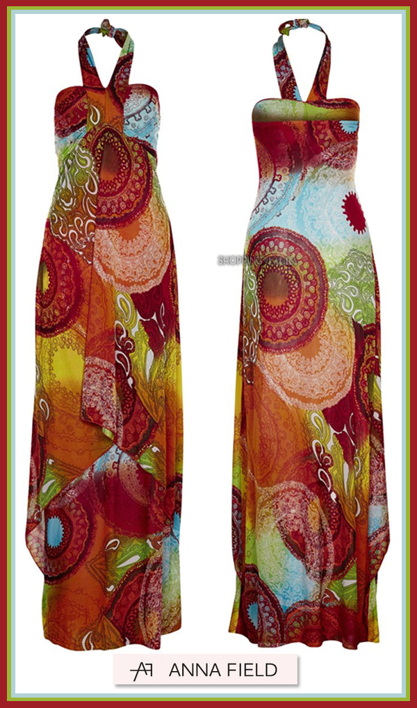 Robe longue imprimée cachemire multicolore ANNA FIELD