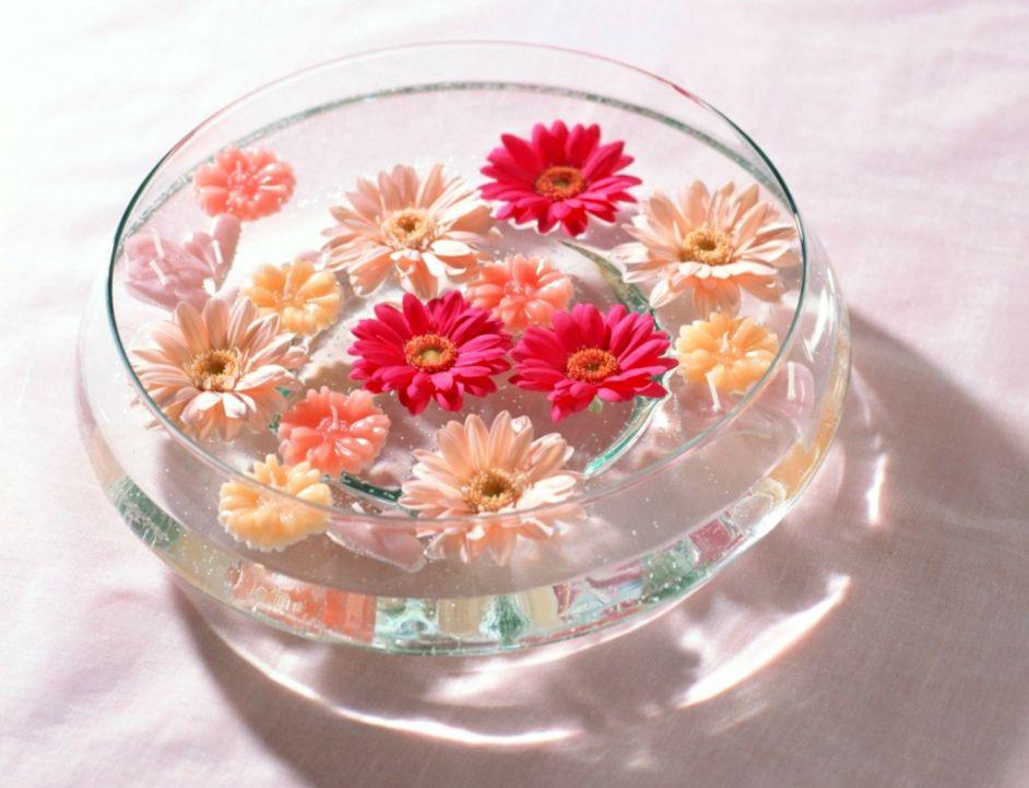 Flowers Peach Swim Water Buds Gerbers Vase Floating Bowl