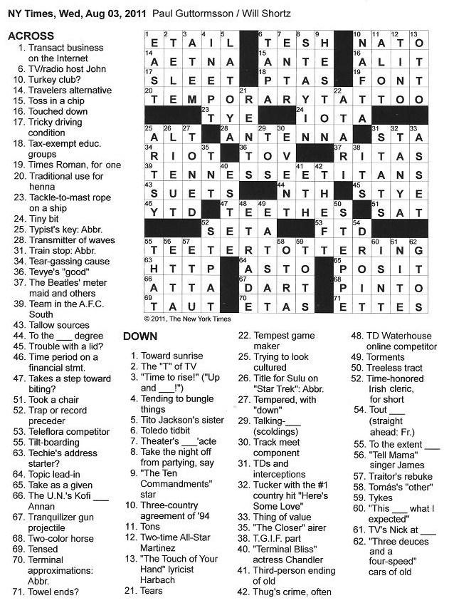 News Years Crossword Puzzles With Answers  Auto