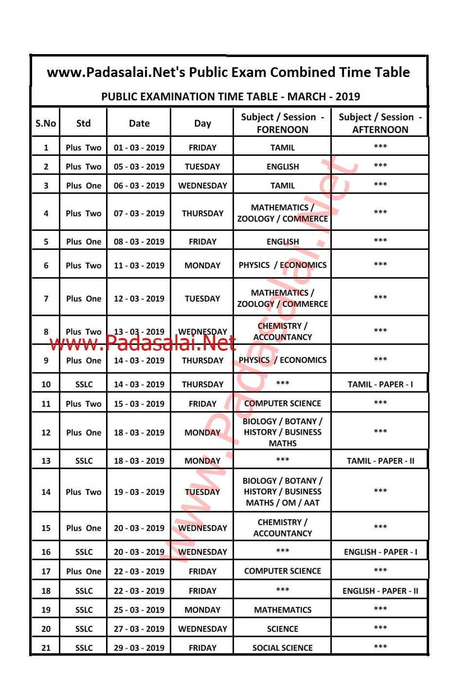 10th, 11th, 12th Public Exam March 2019 - Combined Time Table