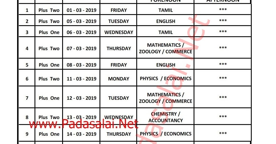 10th 11th 12th Public Exam March 2019 Combined Time Table