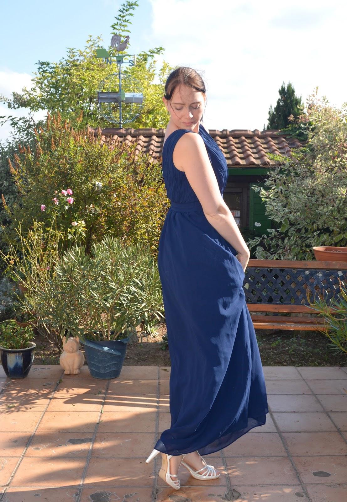 Langes blaues kleid schuhe