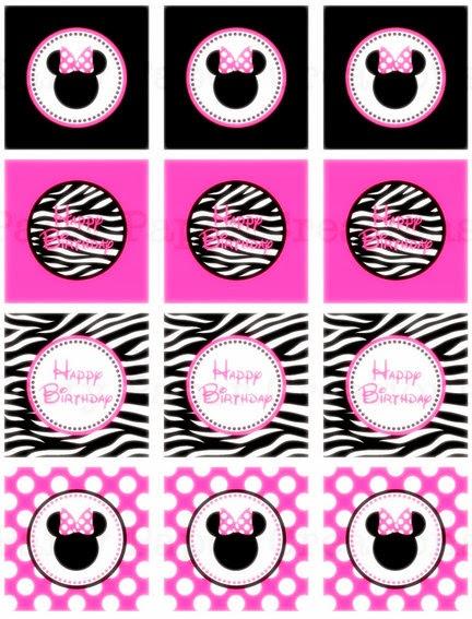 Minnie Mouse Zebra y Fucsia: Kit para Fiestas para Imprimir Gratis.