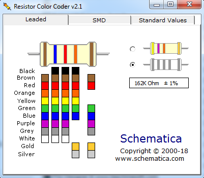 Screenshot Resistor Color Coder
